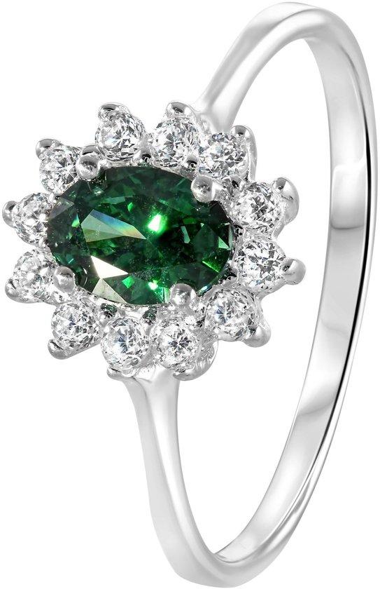 Lucardi - Zilveren ring emerald met zirkonia