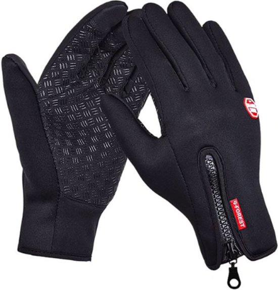 Touchvinger Fietshandschoenen Winter Met Touch Tip Gloves - Touchscreen Ski Handschoenen Fiets - Dames / Heren - Stretch Ski/Snowboardhandschoenen - Unisex - Maat M - Zwart - Waterdicht - Fleece handschoenen