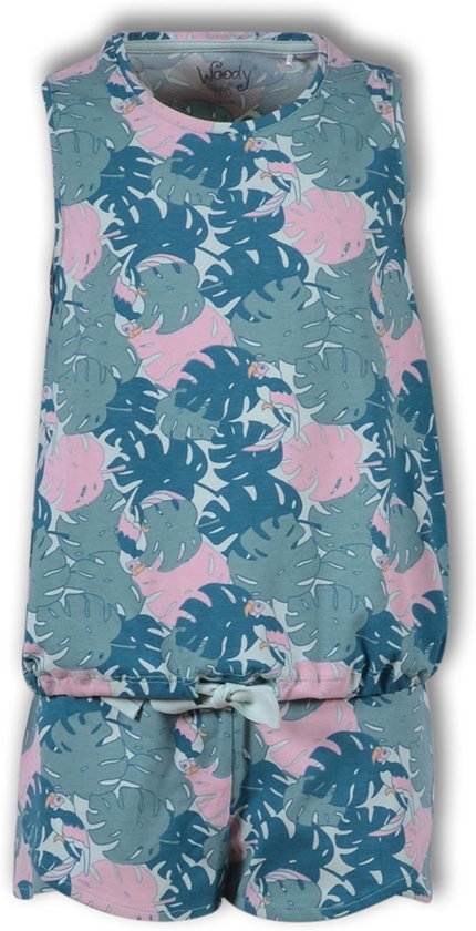 Woody pyjama meisjes - papegaai - groen - 191-1-ypc-z/978 - maat M