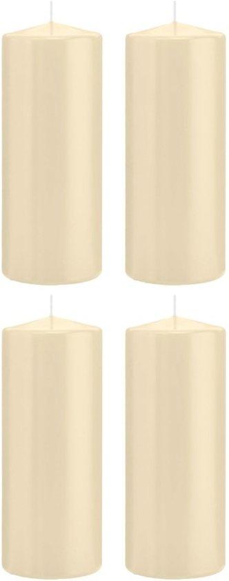 4x Cremewitte cilinderkaarsen/stompkaarsen 8 x 20 cm 119 branduren - Geurloze kaarsen - Woondecoraties