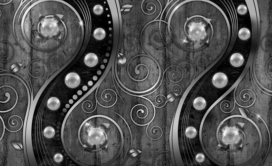 Silver | Black Photomural, wallcovering
