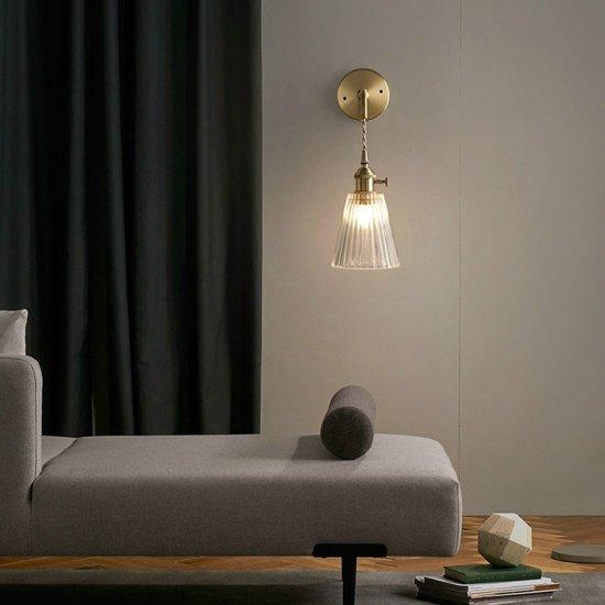 Enkele kop glazen wand licht E27 LED creatief gestreepte koperen muur lamp glas lamp schaduw woonkamer  Power Bron: LED drie kleuren licht 5W