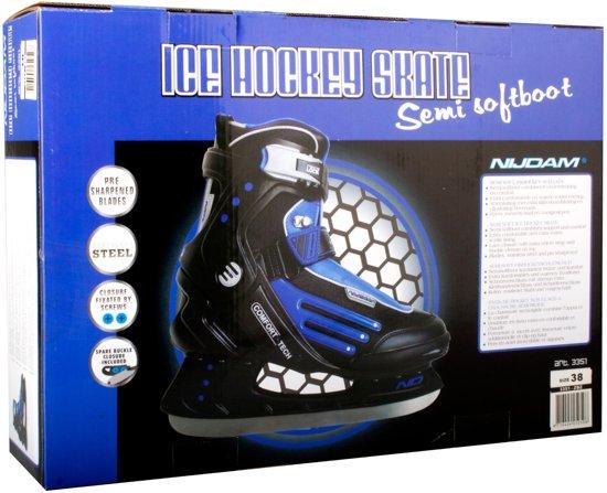 Nijdam 3353 Ijshockeyschaats - Semi-Softboot - Zwart/Blauw - Maat 39