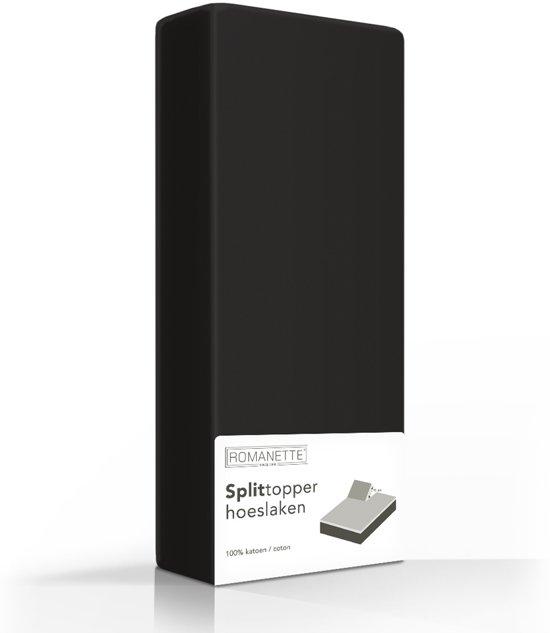 Split-Topper Hoeslaken Romanette Zwart-180 x 200 cm