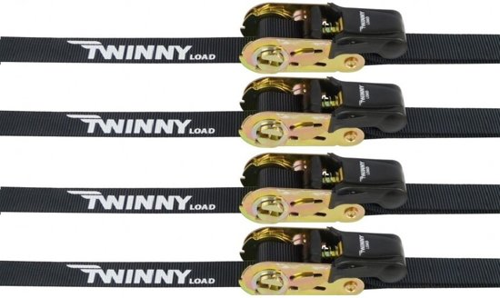 Twinny Load Spanbanden Met Ratel 5 Meter Zwart 4 Stuks