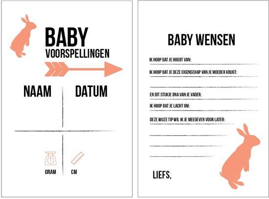 Babyshower invulkaarten - voorspellingskaarten - 15 stuks babyborrel- perzik roze