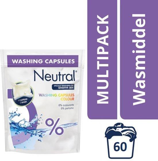 Neutral Parfumvrij Kleur wasmiddel capsules - 60 wasbeurten -