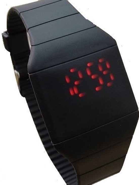 LED Sporthorloge - Horloge - Siliconen - Zwart  - Ø 40 mm