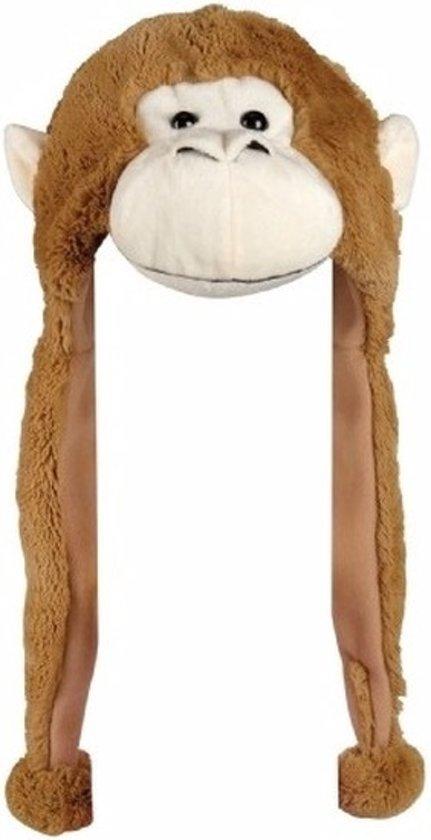 Pluche apen muts met flapjes 18 cm - voor kinderen