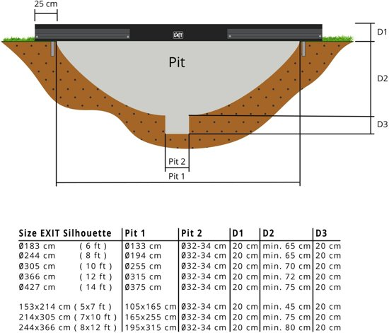 EXIT Silhouette inground trampoline ø183cm - zwart