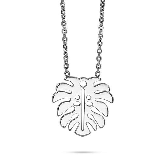 Twice As Nice Halsketting in edelstaal, blad  50 cm+5 cm