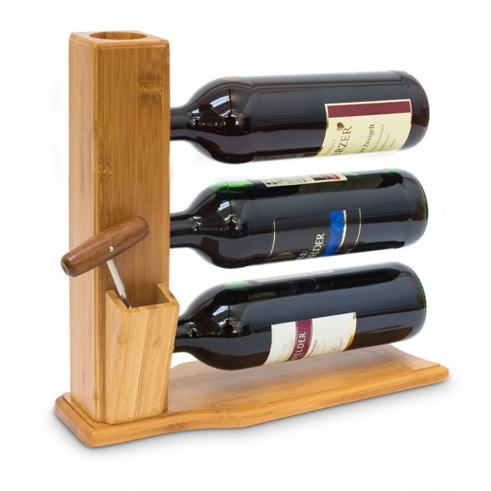 relaxdays - wijnrek 3 flessen bamboe - wijn rek - flessenhouder - design - hout