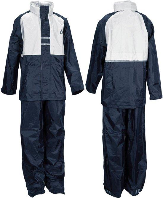 Ralka Regenpak - Kinderen - Unisex - Maat 128 - Marine/Wit