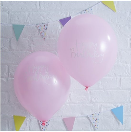 Ginger Ray Pick & Mix 'Happy Birthday' verjaardag ballon Ø 28 cm - Baby roze - Set-10 Valentinaa