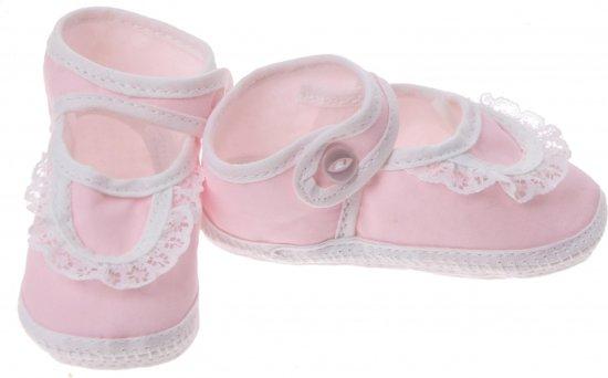 Junior Joy Babyschoenen Newborn Kant Meisjes Roze/wit
