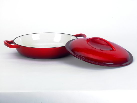 """Risottopan-, sudder-, hapjespan"""" Ø 30 cm. rood gietijzer met deksel"""