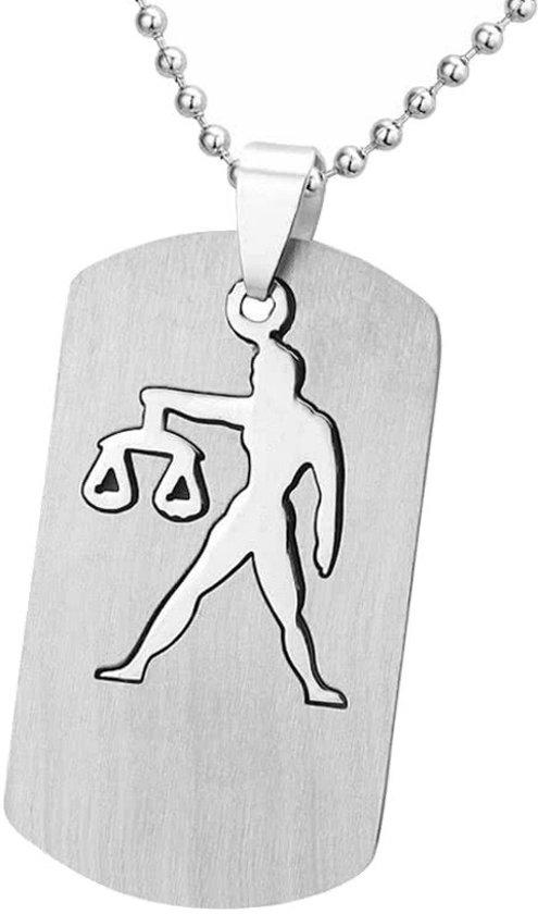 Fako Bijoux® - Ketting - RVS Hanger - Sterrenbeeld Open - Weegschaal