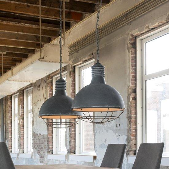 bol | industriële hanglamp bricks 2-lichts grijs (2 stuks)