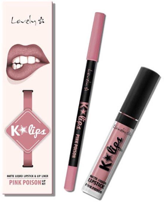 Lovely K-Lips Matte Liquid Lipstick & Lip liner Pink Poison