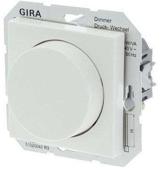 Gira SY55 Inbouw Dimmer - Tot 500W - Halogeen - Drukwissel - Polarwit