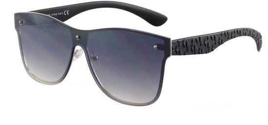 3c43d6af68ba59 Zonnebril met zwarte glazen zonder montuur en mat zwarte pootjes.