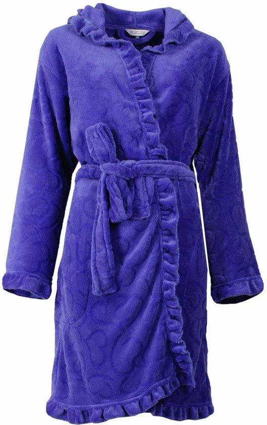 Romantische fleece dames badjas met capuchon. Blauwe kleur, S9-10.