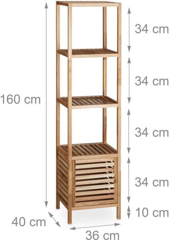 Relaxdays Badkamerrek Walnotenhout Houten Rek Badkamerkast Met Deur Open Rek Plank 5