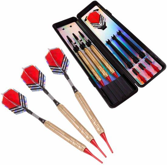 #DoYourDart - 3x Soft Dartpijlen - »RedArrow« -  incl. case voor opslag + 6x PET Dart flights - perfecte grip, koperen barrel | Aluminium shaft gewicht dart: 18,4g - goudkleurig