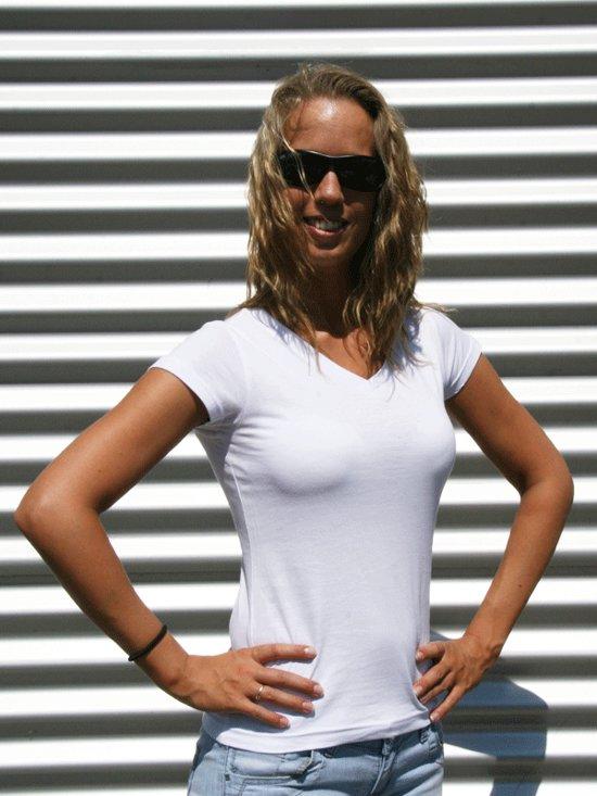 Dames t-shirt  V-hals wit 38 (M)
