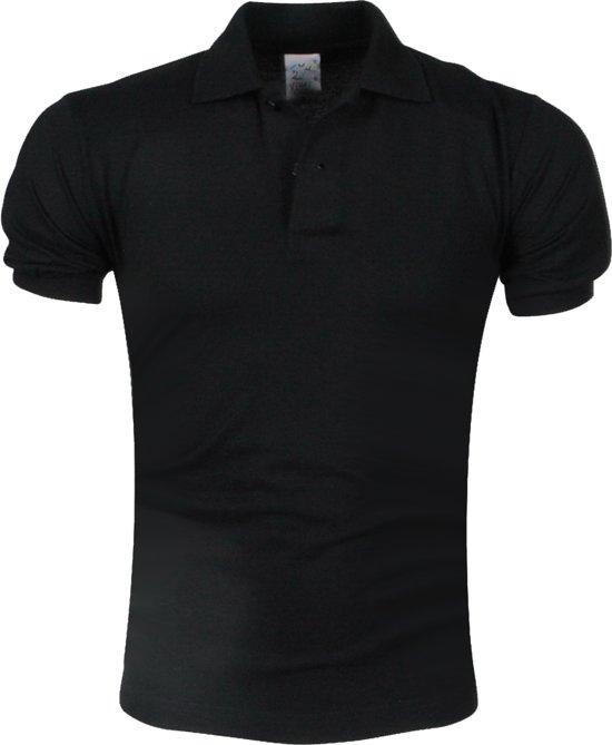 VDHT - Trendy Effen Heren Polo - Ongetailleerd - Zwart