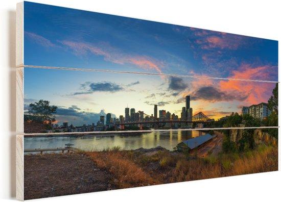 De kleurrijke lucht boven de Australische stad Brisbane Vurenhout met planken 40x20 cm - Foto print op Hout (Wanddecoratie)