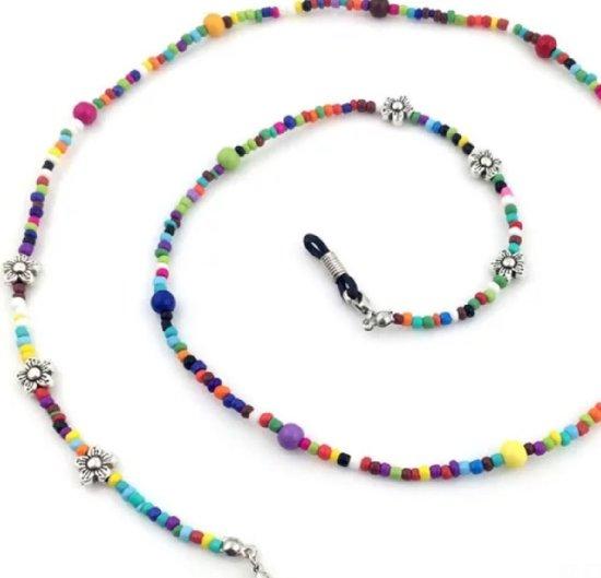 Brillen ketting- Gekleurde kralen- Bloem