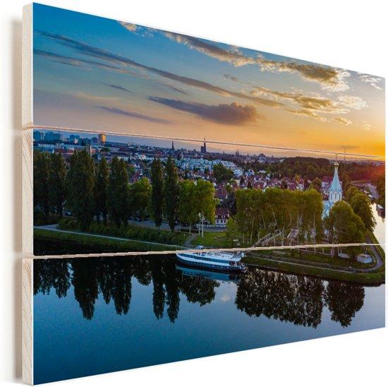 Kleurrijke zonsondergang over Straatsburg in Frankrijk Vurenhout met planken 30x20 cm - klein - Foto print op Hout (Wanddecoratie)