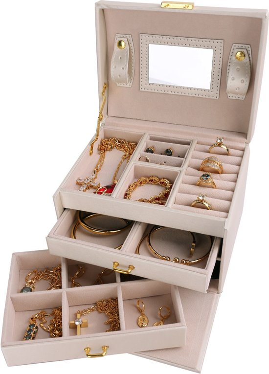 Creme Luxe Sieradenhouder / Sieraden Organizer / Juwelen Opbergers / Bijoueterie