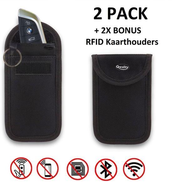 59f45e651ed Anti-Diefstal Autosleutel Hoesje (2 PACK) + 2X RFID kaarthouders - Signaal  Blokkerende