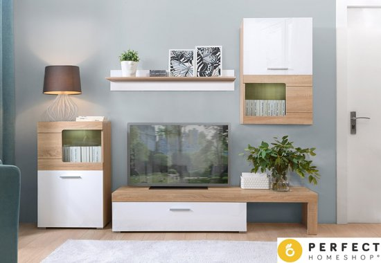 bol.com | TV Meubel Set Wit & Oak - TV Kast Inclusief: 2 Kasten ...