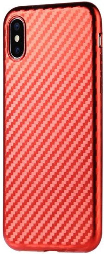 Sulada Carbon Fiber TPU iPhone X XS hoesje - Rood