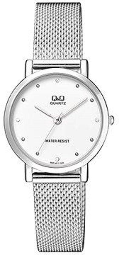 Prachtige Q&Q horloge voor vrouwen ,zilverkleirige band met met witte wijzerplaat QA21J211Y