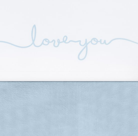 Jollein Love you Laken 120x150cm wit met soft blue tekst