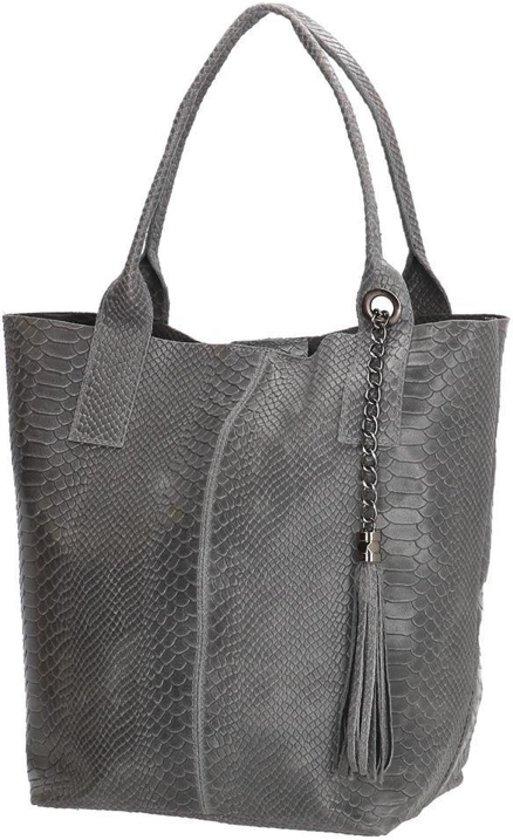 b141300e9b8 bol.com | Charm luxe shopper tas dames leer - Kroko design - Dames Grijs