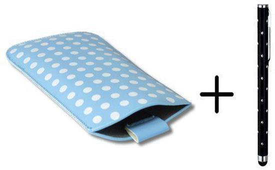 Polka Dot Hoesje voor Sony Xperia M2 Aqua met gratis Polka Dot Stylus, Blauw, merk i12Cover in Bergen op Zoom
