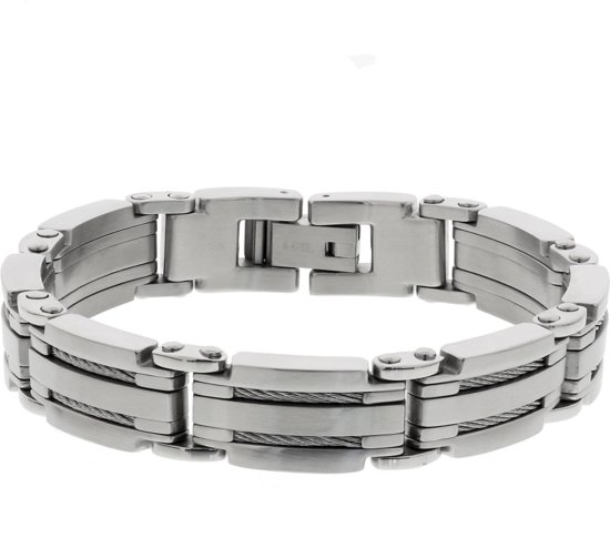 The Jewelry Collection For Men Armband Poli/mat 14 mm 22 cm - Staal
