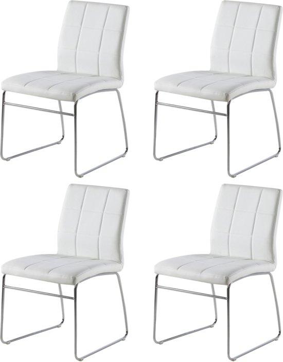 Witte Moderne Eetkamerstoelen.24designs Set 4 Stoelen Jasper Kunstleer Wit
