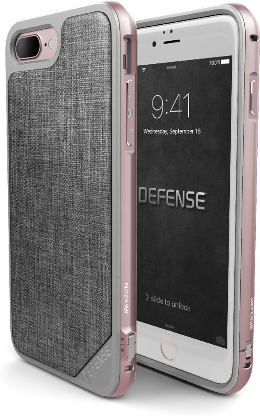wholesale dealer ad40a 96af6 X-Doria Defense Lux Back cover voor Apple iPhone 7 Plus en iPhone 8 Plus -  Grijs