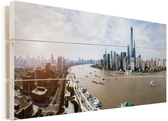 De Bund bij de Chinese stad Shanghai in Azië Vurenhout met planken 40x20 cm - Foto print op Hout (Wanddecoratie)