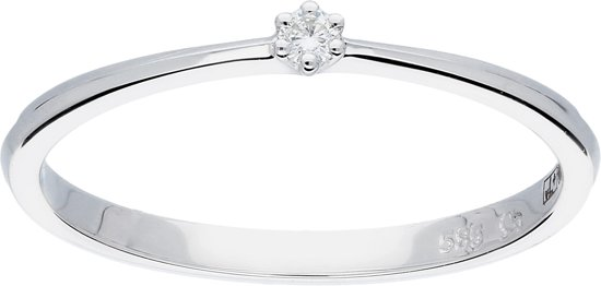 Glow ring met diamant solitaire - 1-0.03ct G/SI - witgoud 14kt - mt 56