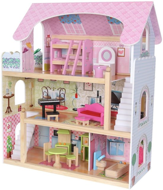 ECOTOYS 4110 Hout poppenhuis