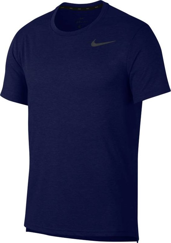 Nike Breath Top Ss Hyper Dry Sportshirt Heren - Donkerblauw