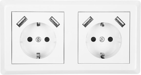 Homra usb stopcontact 55x55mm - Dubbel