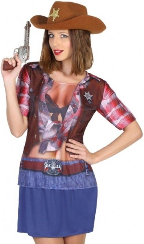 Sheriff cowboy verkleed shirt voor dames Xs/s